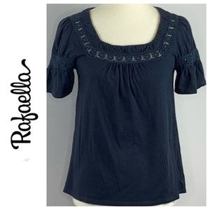 Rafaella Black Knit Lace Detail Blouse Medium